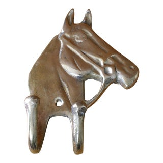 20th Century Country Brass Horse Double Wall Hook For Sale