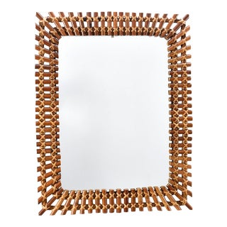 Mid Century Rectangular Bamboo Framed Mirror For Sale
