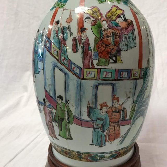 Antique Japanese Porcelain & Wood Lamp - Image 10 of 11