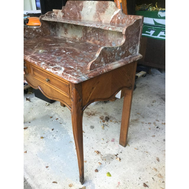 Rococo 1920s French Walnut & Marble Vanity For Sale - Image 3 of 10