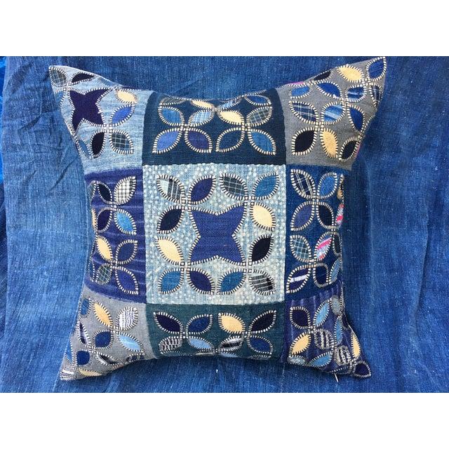Tribal Patchwork Antique Indigo Textile Pillow - Image 3 of 9