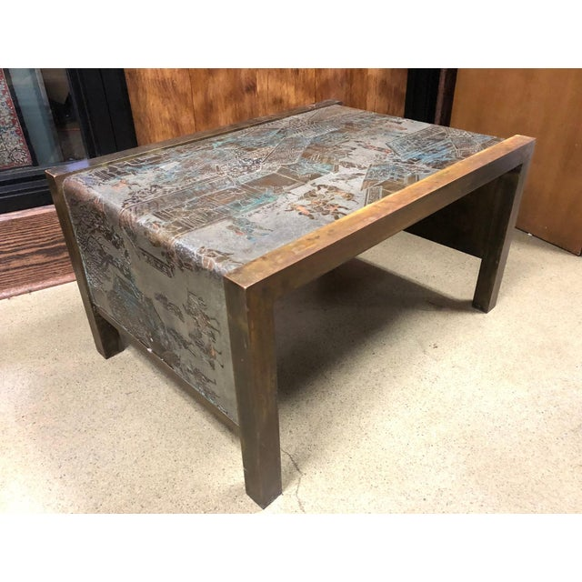 Gold Philip and Kelvin LaVerne Etched Bronze Waterfall Side Table For Sale - Image 8 of 8
