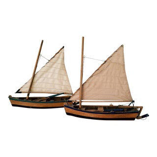 Antique Dingies Sailboat Models - A Pair