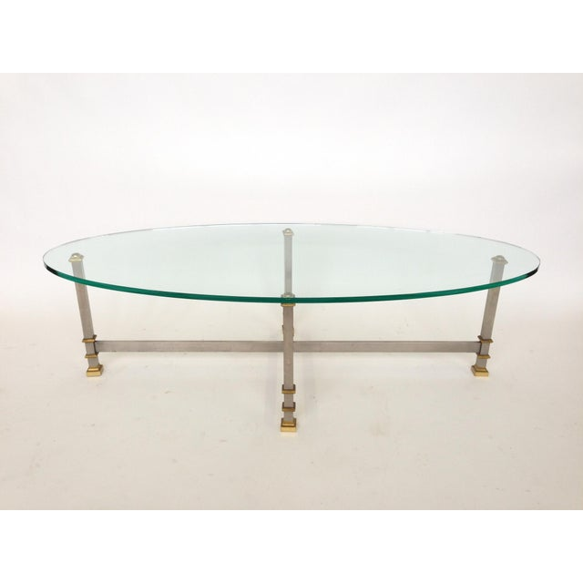 Maison Jansen Style Chrome & Brass Coffee Table - Image 2 of 6
