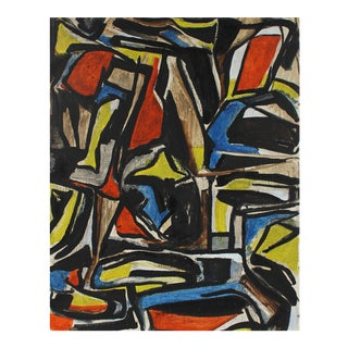 Gustav Friedmann Cubist Abstract Painting in Primary Colors, Circa 1940s For Sale