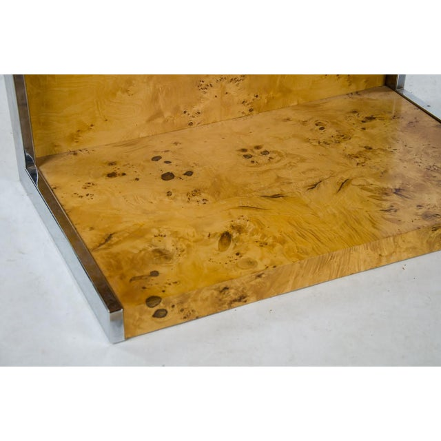 1990s Modern Burl Walnut Nightstand Side Table For Sale - Image 10 of 13