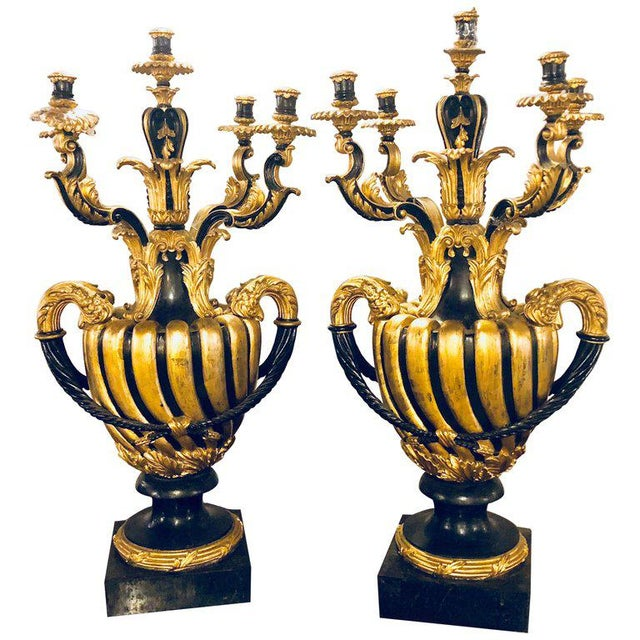 Pair of Monumental Italian Antique Ebony and Gilt Urn Sconces or Candelabras For Sale - Image 12 of 12