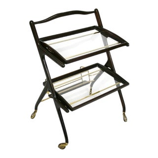 Mid Century Ico Parisi for De Baggis Bar Cart With Brass Italy For Sale