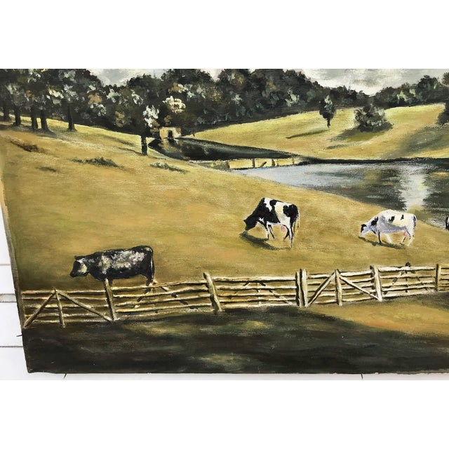 English country scene oil painting on canvas. The piece was made in the 1940s.
