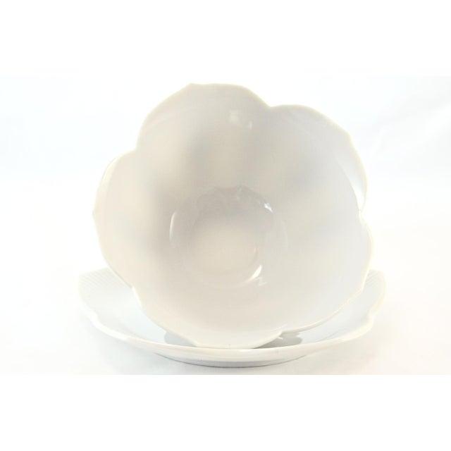 Art Deco White Porcelain Lotus Bowls & Saucers - Set of 4 For Sale - Image 3 of 6