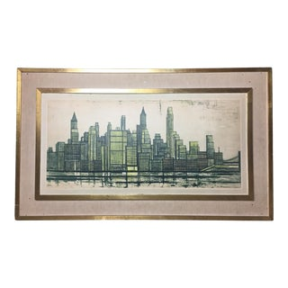 Mid-Century Bernard Buffet Limited Edition Signed Drypoint Print, New York Skyline For Sale