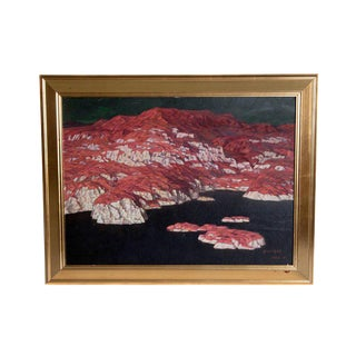 Chinese Abstract Oil on Canvas of Mountains and Seascape, Indistinctly Signed For Sale