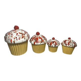 Handmade e.s. Molds Cupcake Kitchen Canisters - Set of 4 For Sale