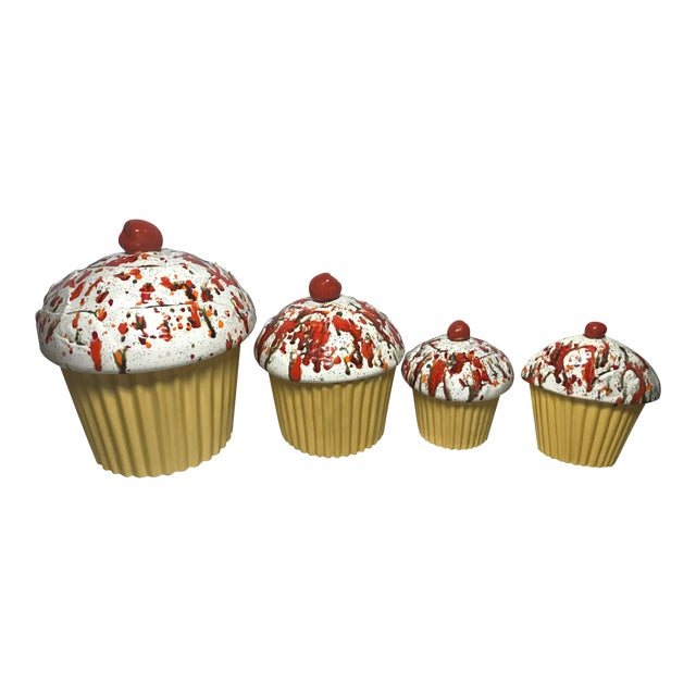 Image of Handmade e.s. Molds Cupcake Kitchen Canisters - Set of 4