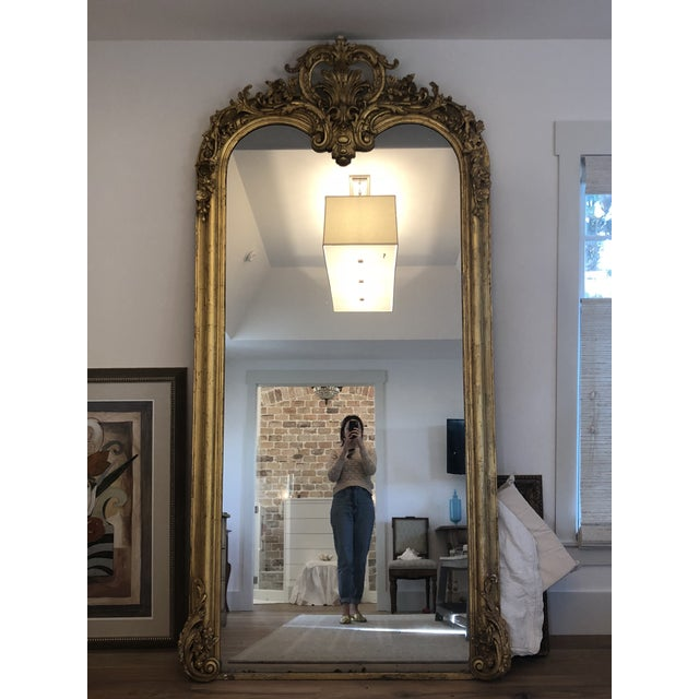 Large 19th Century French Guilt and Wood Gesso Mirror For Sale - Image 13 of 13