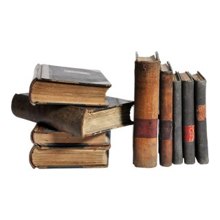 Set of 9 Leather Bound Spanish Books For Sale