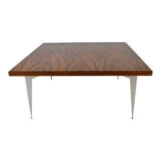 Modernist Exotic Wood and Steel Cocktail Table, circa 1970s