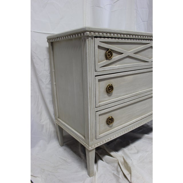 Bronze 20th Century Gutavian X Shape Front Carving Bedside Chests - a Pair For Sale - Image 7 of 8