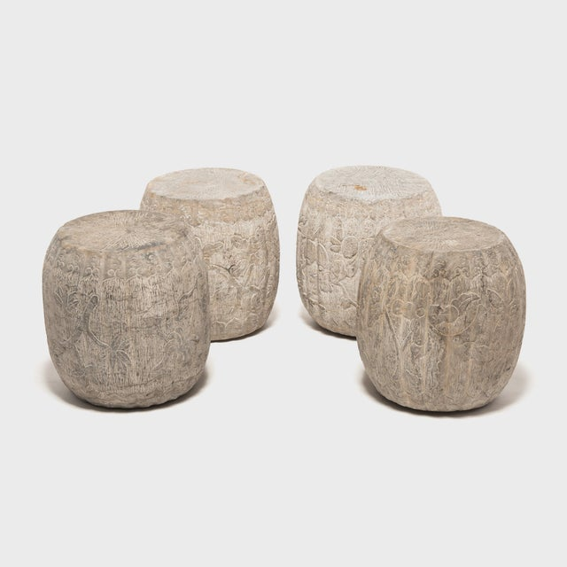 Stone Chinese Floral Melon Drum Stool For Sale - Image 7 of 8