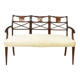 Antique Sheraton Style Triple Chair Back Mahogany Bench in Off-White Upholstery For Sale