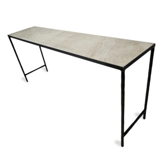 2020s Vintage Modern Marble & Iron Console For Sale - Image 5 of 10