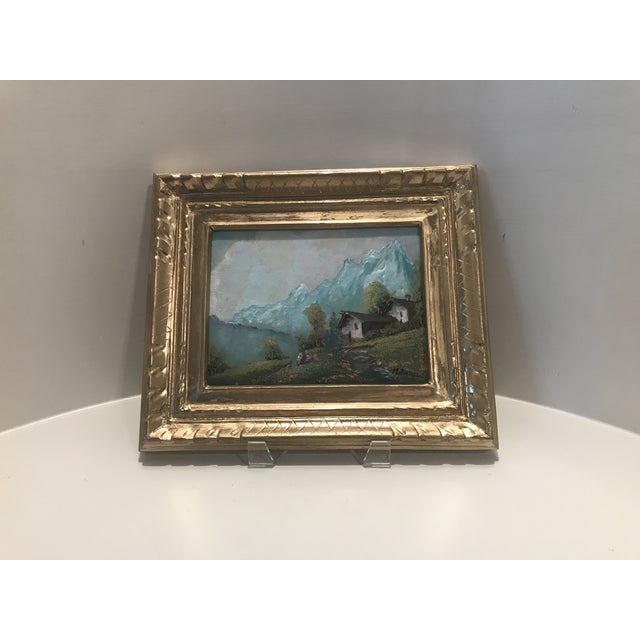 Traditional Vintage Mid-Century M. Rosselli Framed Oil on Canvas Landscape Painting For Sale - Image 3 of 11