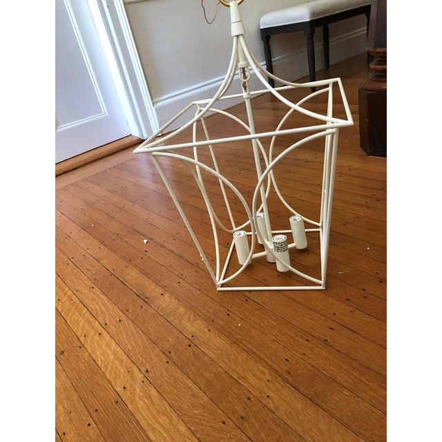 Brand new, out of box, beautiful white pagoda style lantern with brass accents, by Visual Comfort.