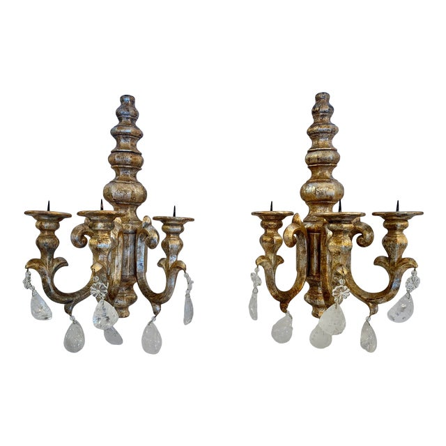 Designer Giltwood Candle Sconces -A Pair For Sale