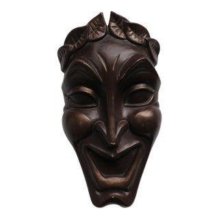 Jamar Mallory Greek Comedy Mask Ceramic Wall Pocket Sculpture For Sale