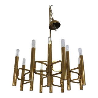 1970's Gaetano Sciolari Twelve Light Gold Plated Chandelier For Sale