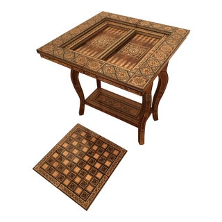 Boho Chic Marquetry Game Table With Mother-Of-Pearl and Fine Wood Inlays For Sale