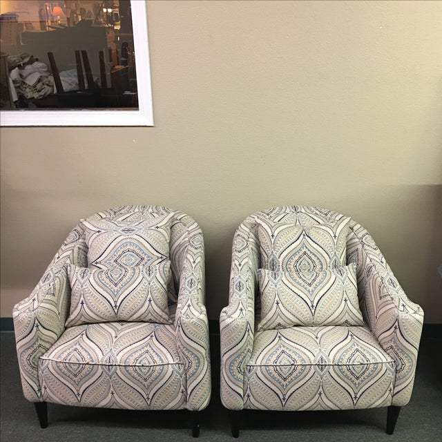 Contemporary Barrel Chairs - A Pair - Image 2 of 9