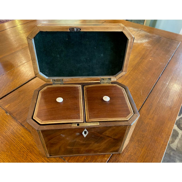 19th Century Antique Octagonal Wooden Tea Caddy For Sale - Image 4 of 9