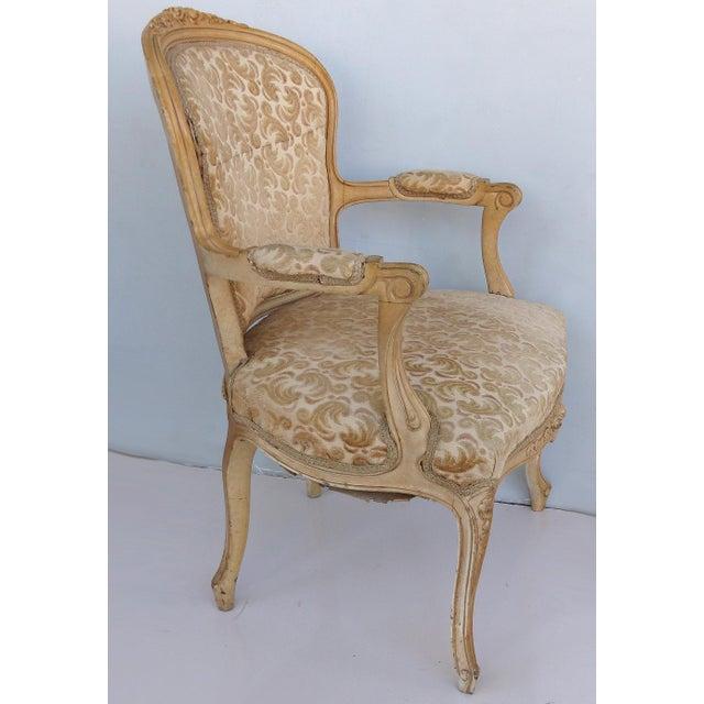 Antique Louis XV Style Provincial Velvet Fauteuil Armchairs- a Pair For Sale - Image 4 of 13