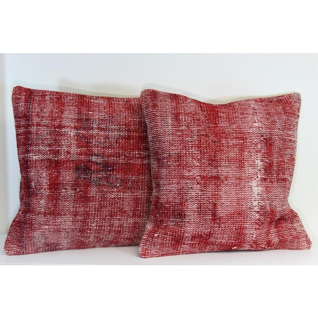 Red Over-Dyed Rug Pillow Covers - A Pair - Image 2 of 7