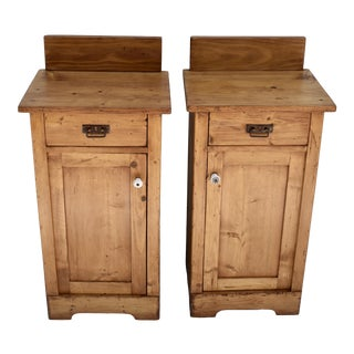 Pair of Painted Pine Nightstands For Sale
