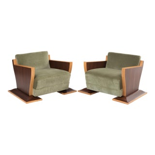 French Art Deco Club Chairs- A Pair For Sale