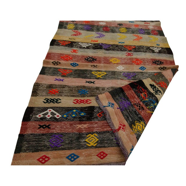 Mid 20th Century Decorative Vintage Turkish Kilim Runner- 3′3″ × 8′8″ For Sale - Image 5 of 7