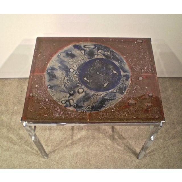 Art Glass & Chrome Side Table - Image 3 of 3