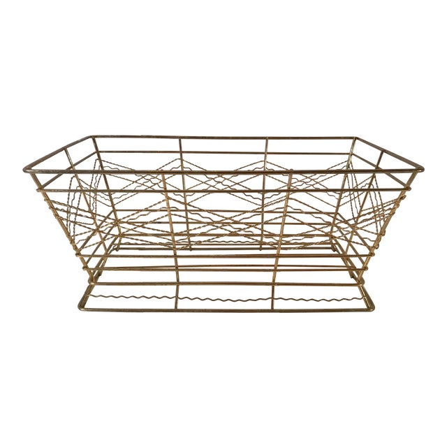 Mid Century Expanded Gold Metal Basket For Sale