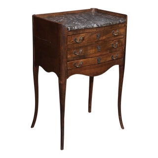 19th Century French Walnut and Marble Side Table For Sale