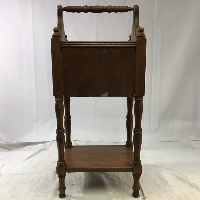 Antique Oak Copper-Lined Humidor Smoking Side Table For Sale - Image 4 of 12