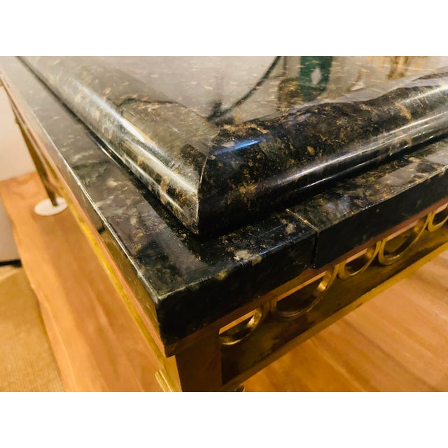 Metal Hollywood Regency Granite Top on Brass Base Center Table For Sale - Image 7 of 13