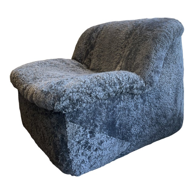 Reupholstered Curly Shearling Swivel Chair - 2 Available For Sale