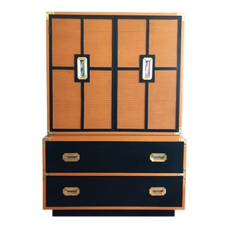 Mid-Century Drexel Burnt Orange and Black Campaigner Armoire Dresser For Sale
