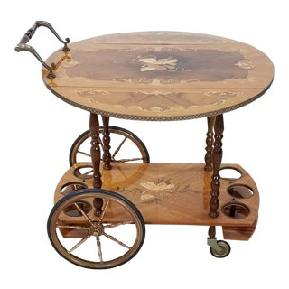 1960s Mid Century Italian Inlaid Tea Bar Cart Trolley For Sale