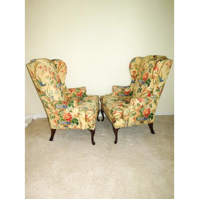 Fabric Queen Anne Style Floral Upholstered Wing-Backed Chairs - a Pair For Sale - Image 7 of 13