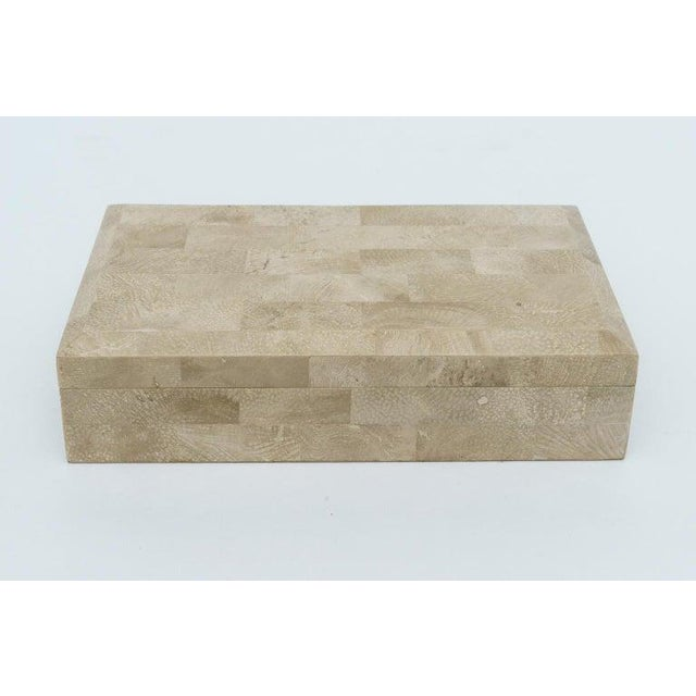 This stylish and chic little tessellated marble jewelry box dates to the 1980-1990s and was acquired from a Palm Beach...