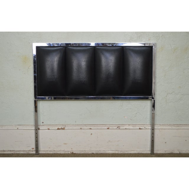 Milo Baughman Mid Century Modern Pair of Chrome & Black Faux Leather Twin Headboards - Image 8 of 11