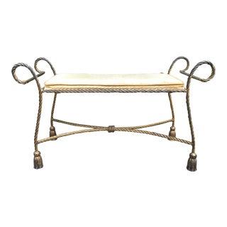 1960s Vintage Hollywood Regency Gilt Tassel Vanity Bench For Sale